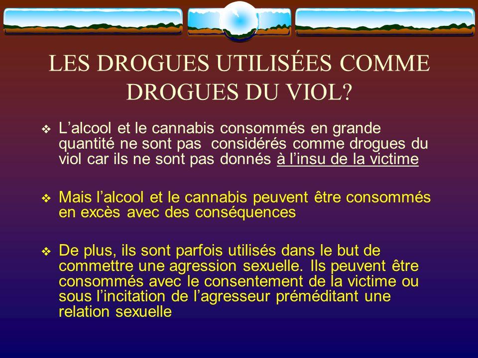 LES DROGUES UTILISÉES COMME DROGUES DU VIOL? Lalcool et le cannabis consommés en grande quantité ne sont pas considérés comme drogues du viol car ils