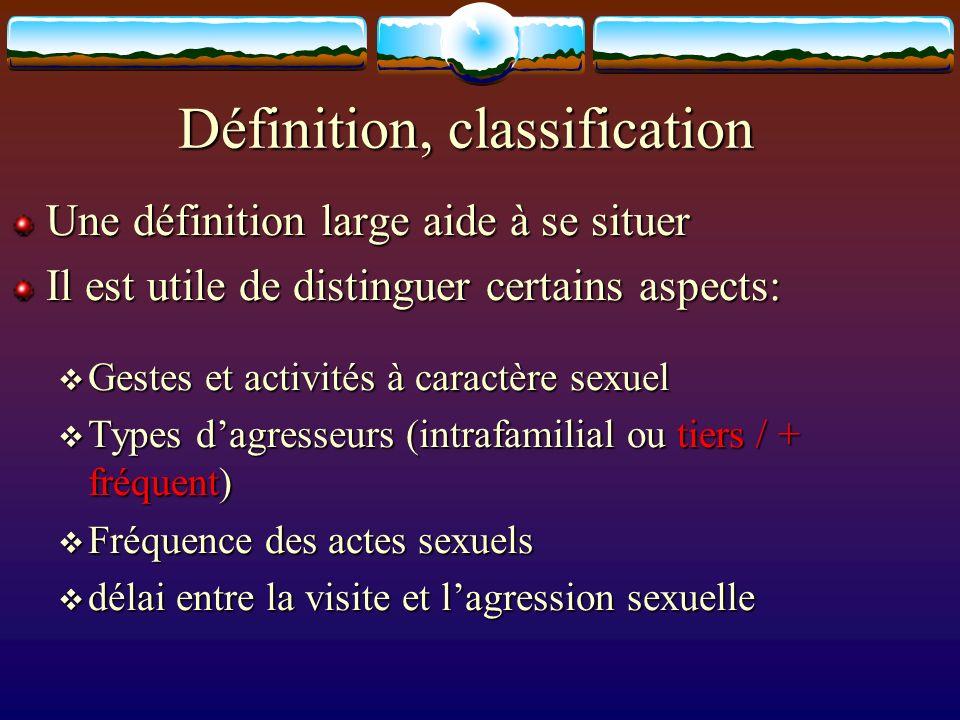 Définition, classification Une définition large aide à se situer Il est utile de distinguer certains aspects: Gestes et activités à caractère sexuel G