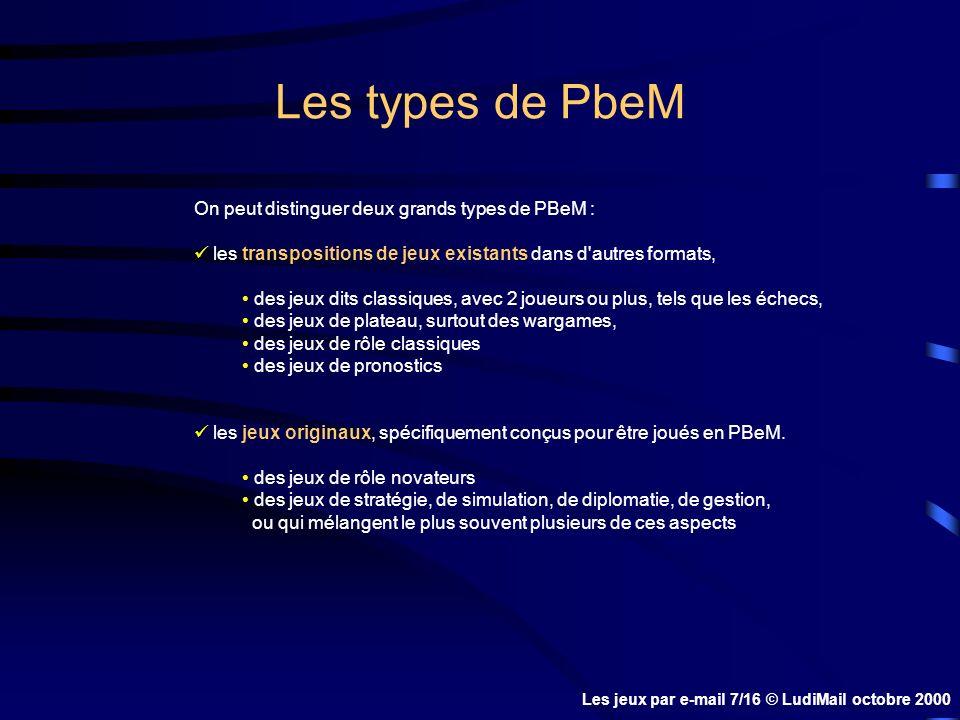 Les types de PbeM On peut distinguer deux grands types de PBeM : les transpositions de jeux existants dans d autres formats, des jeux dits classiques, avec 2 joueurs ou plus, tels que les échecs, des jeux de plateau, surtout des wargames, des jeux de rôle classiques des jeux de pronostics les jeux originaux, spécifiquement conçus pour être joués en PBeM.