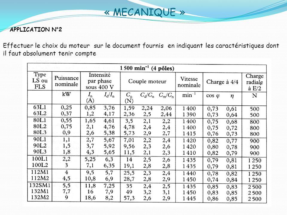 « MECANIQUE » APPLICATION N°2 Effectuer le choix du moteur sur le document fournis en indiquant les caractéristiques dont il faut absolument tenir com
