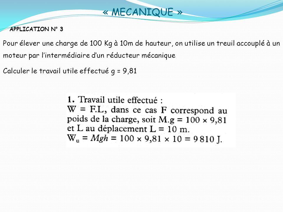 « MECANIQUE » APPLICATION N° 3 Pour élever une charge de 100 Kg à 10m de hauteur, on utilise un treuil accouplé à un moteur par lintermédiaire dun réd