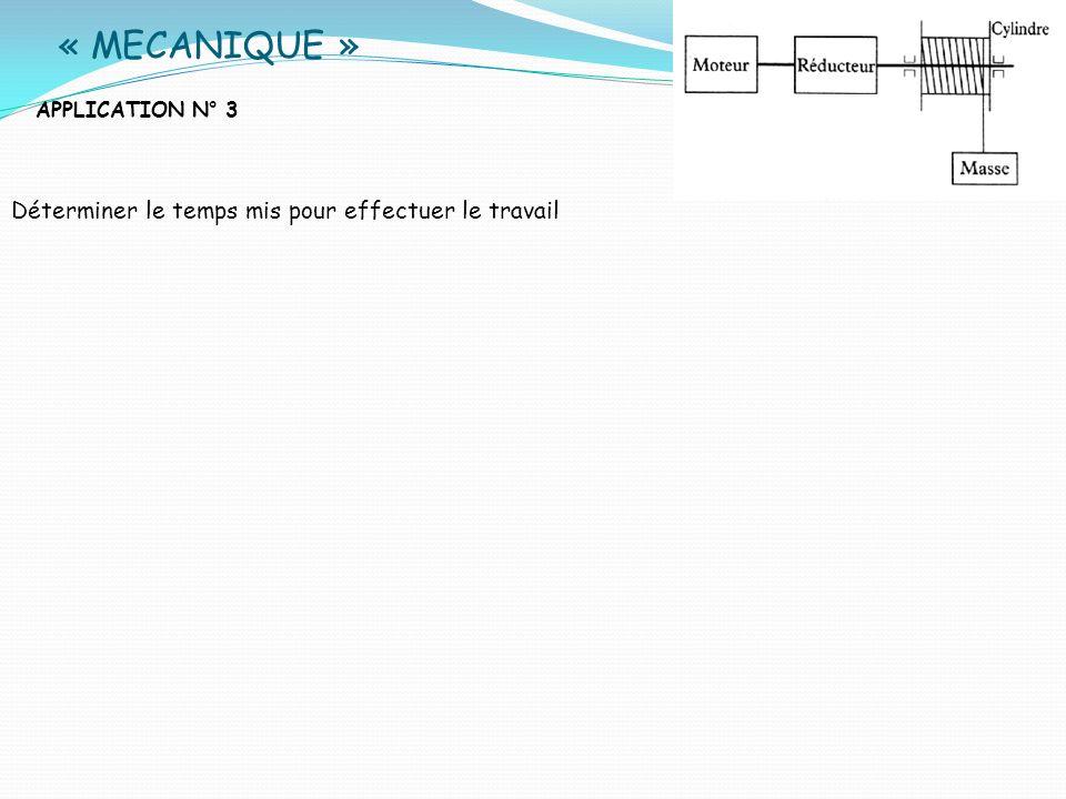 « MECANIQUE » APPLICATION N° 3 Déterminer le temps mis pour effectuer le travail