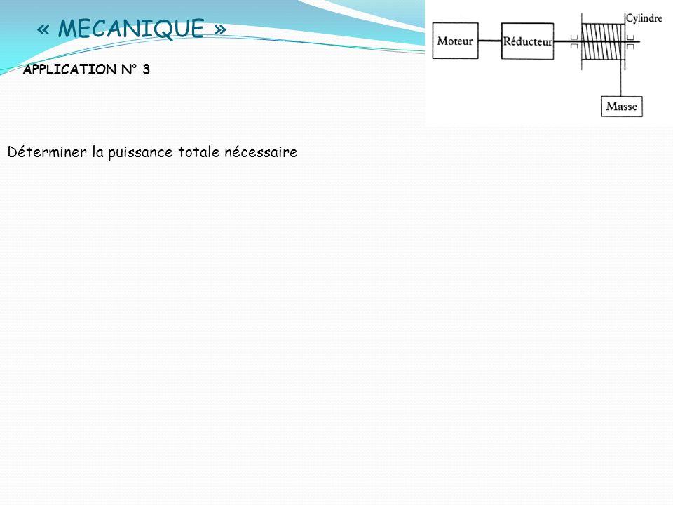 « MECANIQUE » APPLICATION N° 3 Déterminer la puissance totale nécessaire