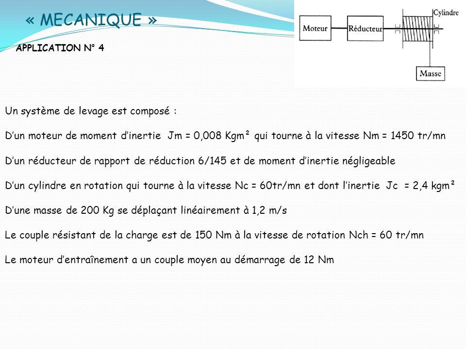 « MECANIQUE » APPLICATION N° 4 Un système de levage est composé : Dun moteur de moment dinertie Јm = 0,008 Kgm² qui tourne à la vitesse Nm = 1450 tr/m
