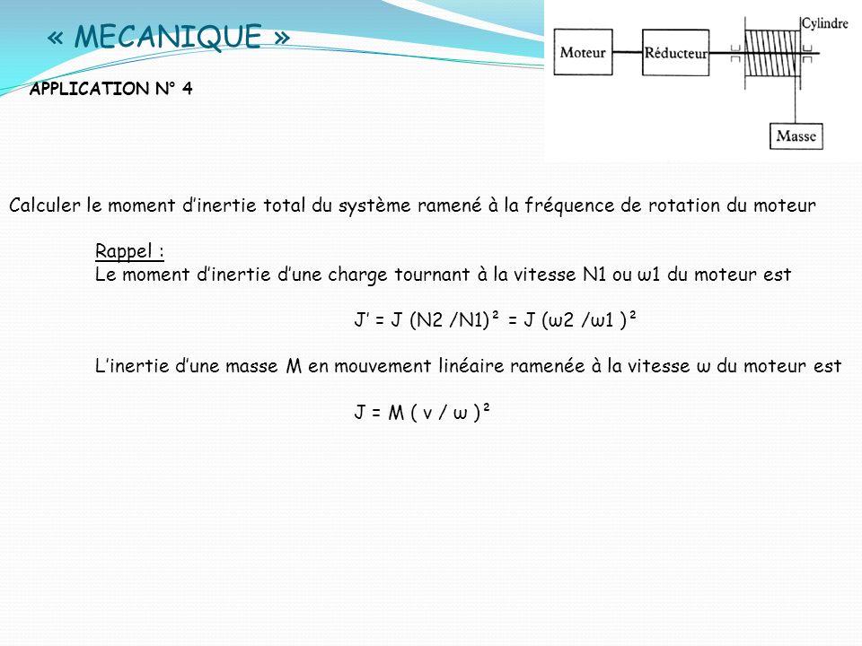 « MECANIQUE » APPLICATION N° 4 Calculer le moment dinertie total du système ramené à la fréquence de rotation du moteur Rappel : Le moment dinertie du