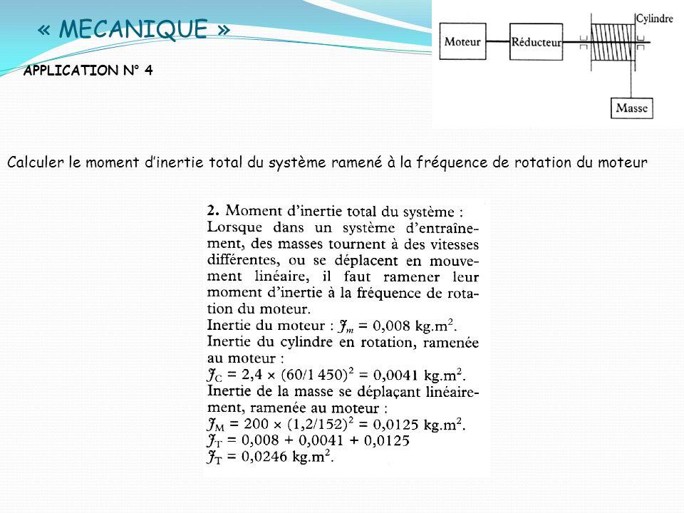 « MECANIQUE » APPLICATION N° 4 Calculer le moment dinertie total du système ramené à la fréquence de rotation du moteur