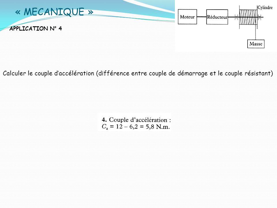 « MECANIQUE » APPLICATION N° 4 Calculer le couple daccélération (différence entre couple de démarrage et le couple résistant)