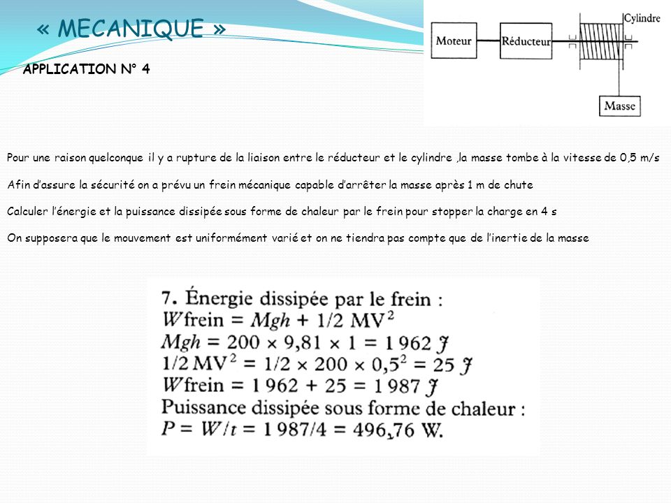 « MECANIQUE » APPLICATION N° 4 Pour une raison quelconque il y a rupture de la liaison entre le réducteur et le cylindre,la masse tombe à la vitesse d