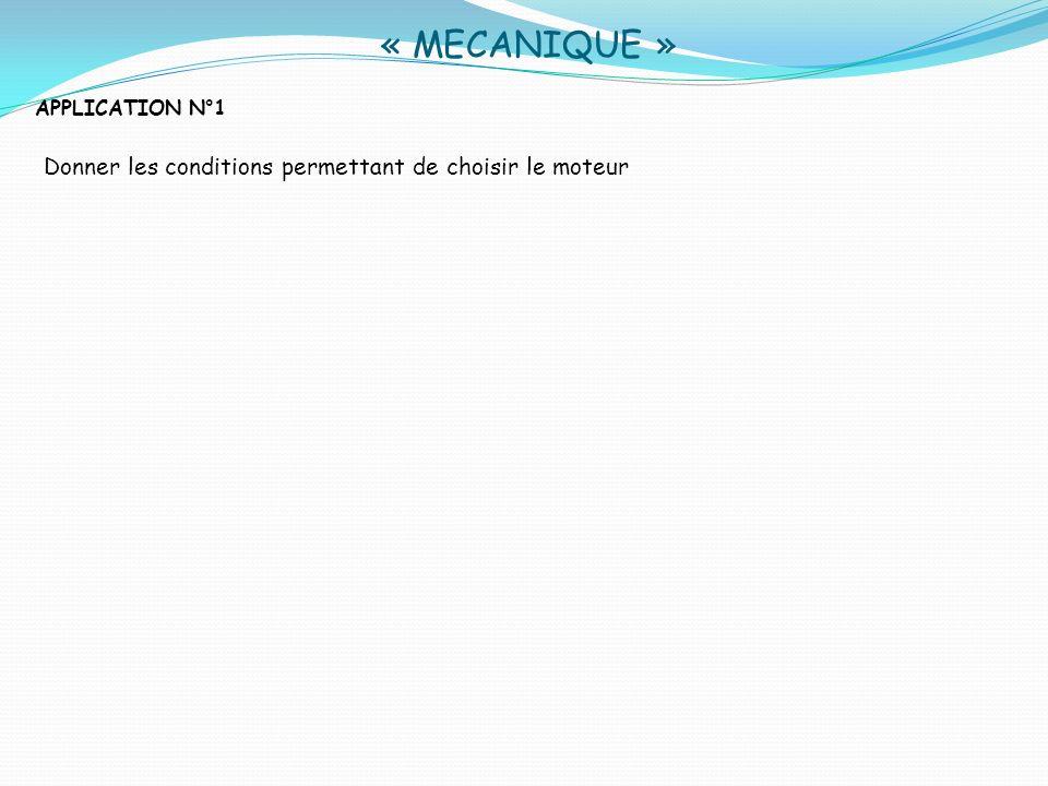 « MECANIQUE » APPLICATION N° 3 Calculer la puissance mécanique fournie par le moteur