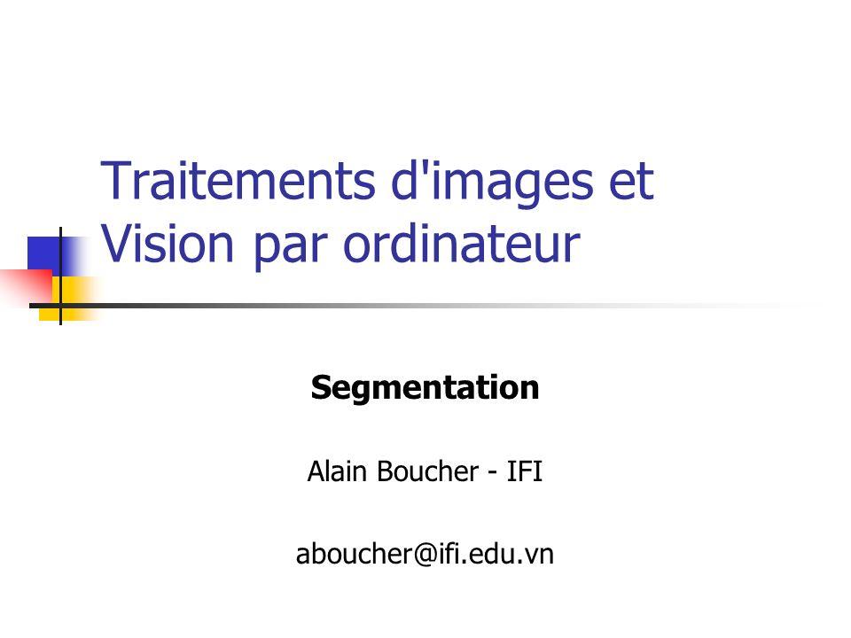 Vision par ordinateur - Alain Boucher22 Croissance de régions L algorithme débute avec un pixel, et collectionne les pixels voisins qui répondent à un critère d appartenance : Variance faible Niveau de gris répondant un un seuil … Le(s) pixel(s) initials (ou initiaux) sont appelés germes ou semences .