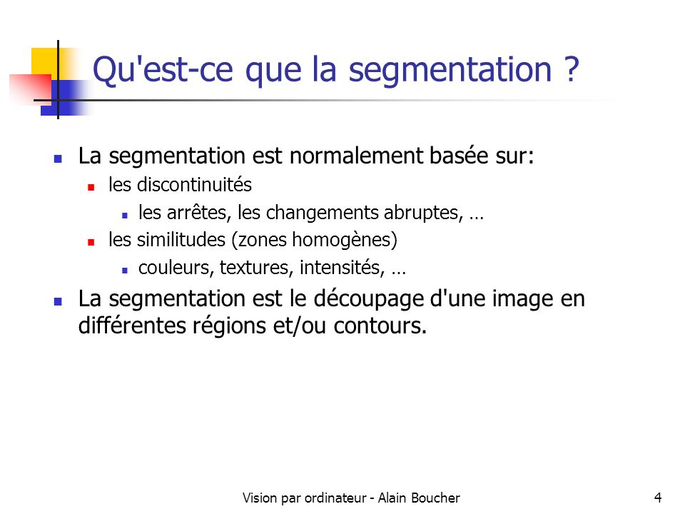 Vision par ordinateur - Alain Boucher35 Approche Gestalt Questions sur lapproche Gestalt : Comment intégrer des règles de regroupement dans un algorithme.