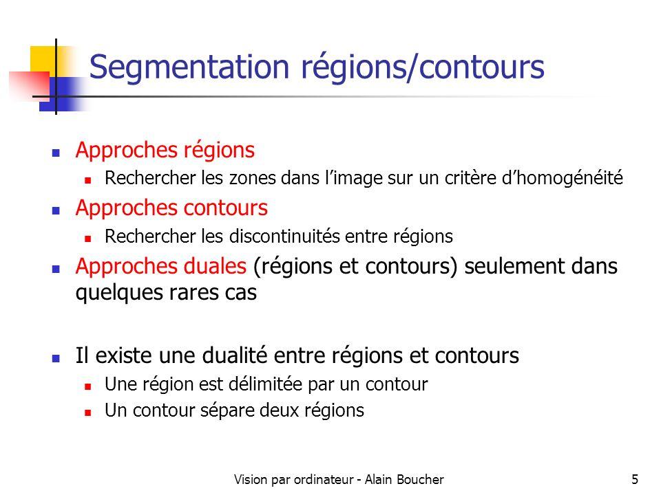 Vision par ordinateur - Alain Boucher6 Segmentation contours La segmentation en contours d une image se fait principalement en utilisant les détecteurs par convolution déjà vus.