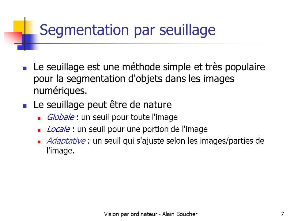 Vision par ordinateur - Alain Boucher8 Segmentation par seuillage Seuillage de base (2 classes) – principe : Si valeur(pixel) >= seuil alors valeur(pixel) = 1 Si valeur(pixel) < seuil alors valeur(pixel) = 0 Le résultat du seuillage est une image binaire.
