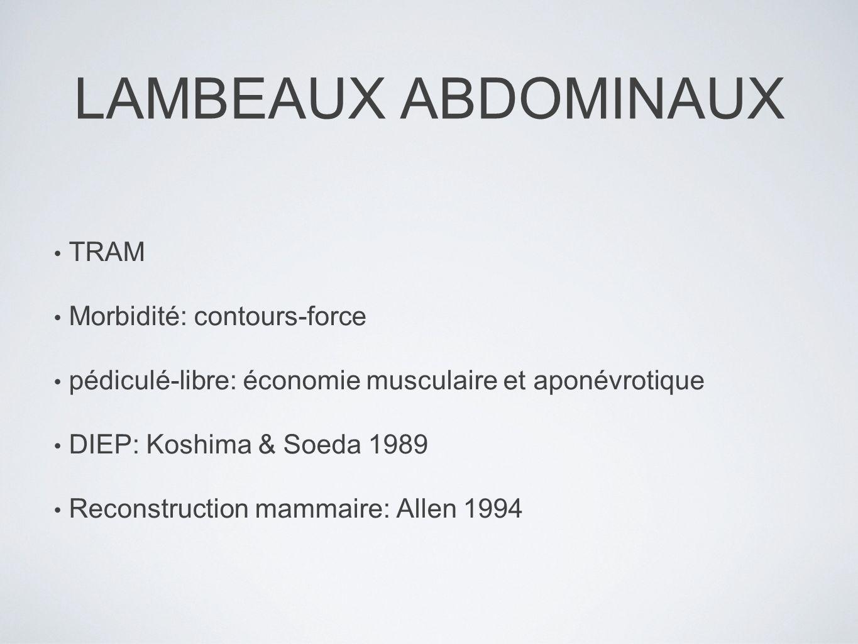 LAMBEAUX ABDOMINAUX TRAM Morbidité: contours-force pédiculé-libre: économie musculaire et aponévrotique DIEP: Koshima & Soeda 1989 Reconstruction mamm