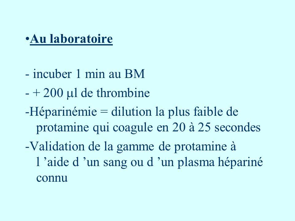 Au laboratoire - incuber 1 min au BM - + 200 l de thrombine -Héparinémie = dilution la plus faible de protamine qui coagule en 20 à 25 secondes -Valid