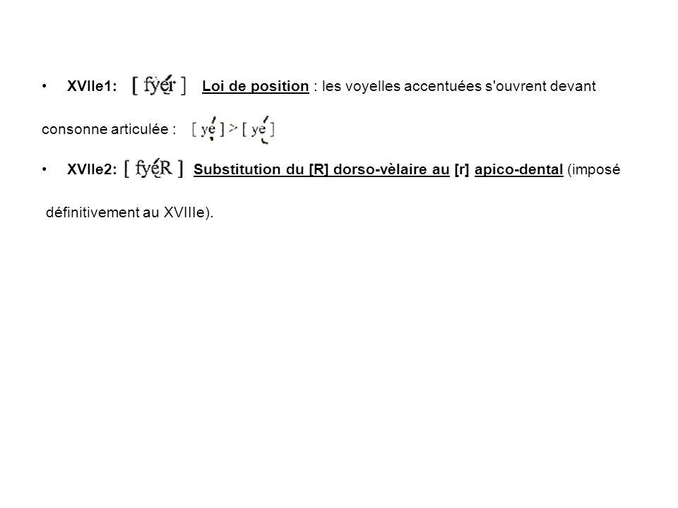 XVIIe1: Loi de position : les voyelles accentuées s ouvrent devant consonne articulée : XVIIe2: Substitution du [R] dorso-vèlaire au [r] apico-dental (imposé définitivement au XVIIIe).