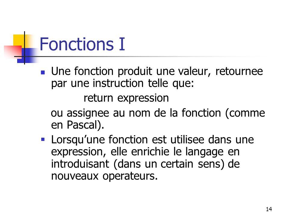 14 Fonctions I Une fonction produit une valeur, retournee par une instruction telle que: return expression ou assignee au nom de la fonction (comme en Pascal).