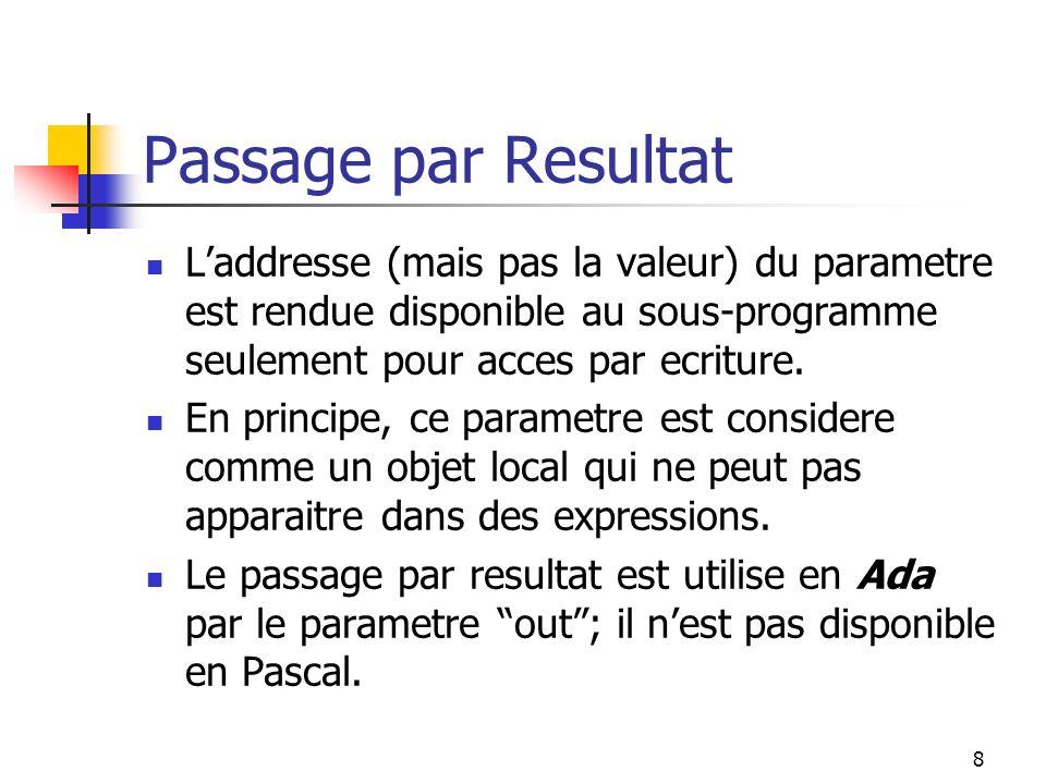 8 Passage par Resultat Laddresse (mais pas la valeur) du parametre est rendue disponible au sous-programme seulement pour acces par ecriture.