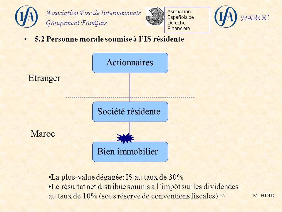 M. HDID Association Fiscale Internationale Groupement Fran ç ais Asociación Española de Derecho Financiero M AROC 27 5.2 Personne morale soumise à lIS