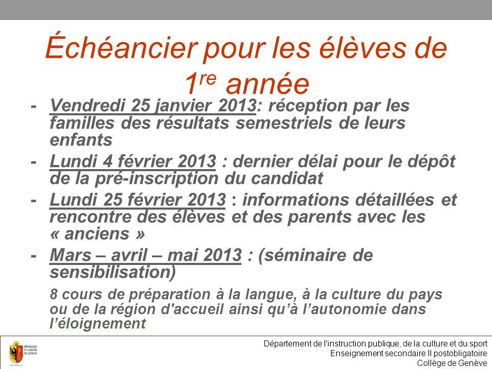 Échéancier pour les élèves de 1 re année -Vendredi 25 janvier 2013: réception par les familles des résultats semestriels de leurs enfants -Lundi 4 fév
