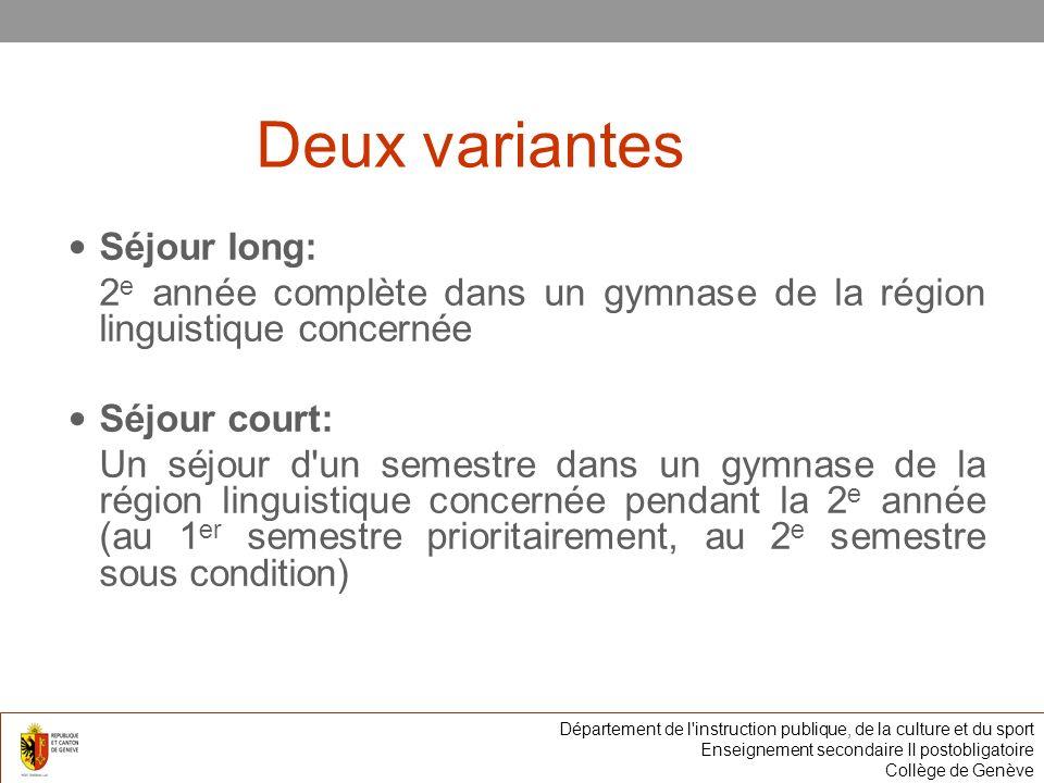 Deux variantes Séjour long: 2 e année complète dans un gymnase de la région linguistique concernée Séjour court: Un séjour d'un semestre dans un gymna