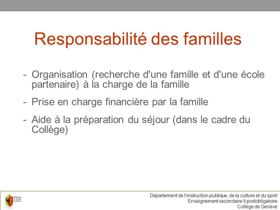 Responsabilité des familles -Organisation (recherche d une famille et d une école partenaire) à la charge de la famille -Prise en charge financière par la famille -Aide à la préparation du séjour (dans le cadre du Collège) Département de l instruction publique, de la culture et du sport Enseignement secondaire II postobligatoire Collège de Genève