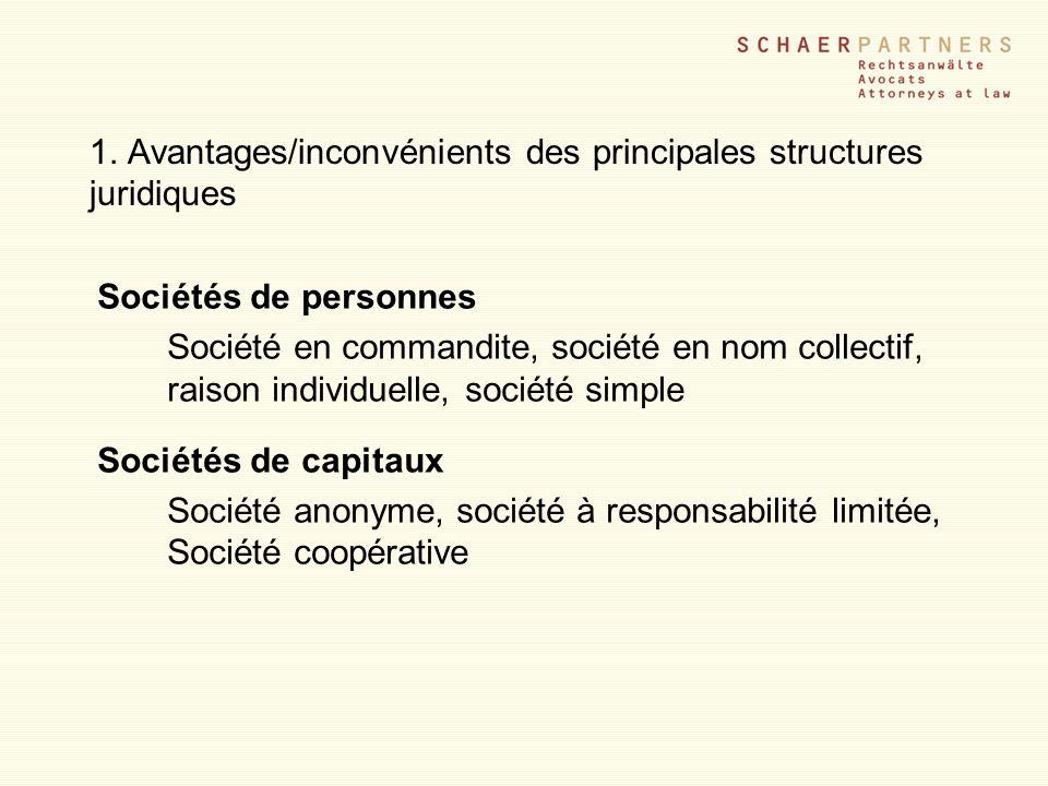 1. Avantages/inconvénients des principales structures juridiques Sociétés de personnes Société en commandite, société en nom collectif, raison individ