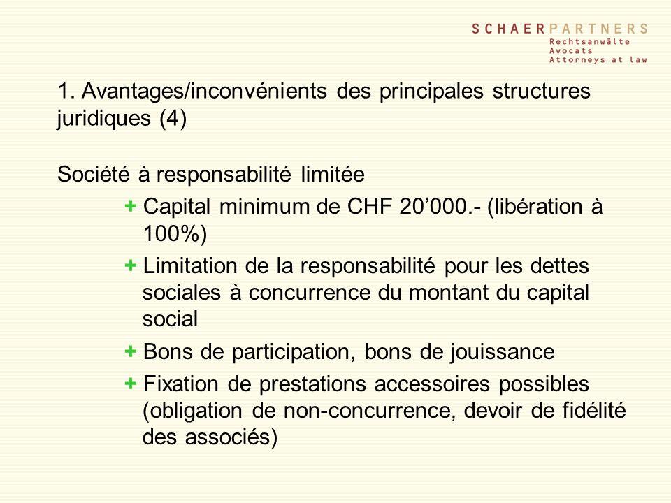 1. Avantages/inconvénients des principales structures juridiques (4) Société à responsabilité limitée + Capital minimum de CHF 20000.- (libération à 1