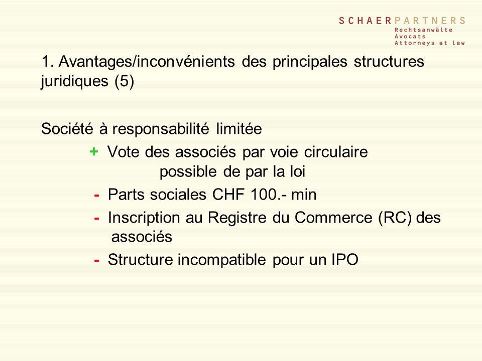1. Avantages/inconvénients des principales structures juridiques (5) Société à responsabilité limitée + Vote des associés par voie circulaire possible