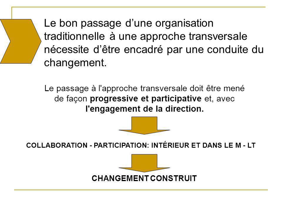 Le bon passage dune organisation traditionnelle à une approche transversale nécessite dêtre encadré par une conduite du changement. Le passage à l'app