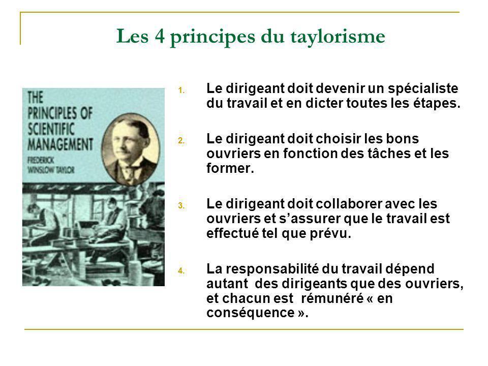 Les 4 principes du taylorisme 1. Le dirigeant doit devenir un spécialiste du travail et en dicter toutes les étapes. 2. Le dirigeant doit choisir les