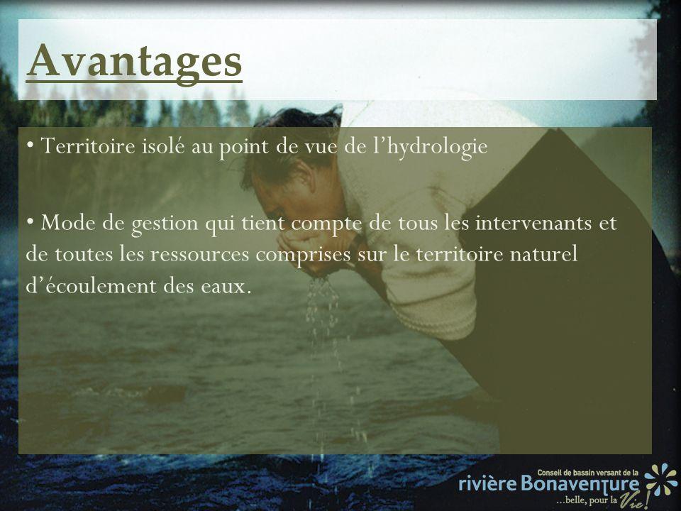 Avantages Territoire isolé au point de vue de lhydrologie Mode de gestion qui tient compte de tous les intervenants et de toutes les ressources compri