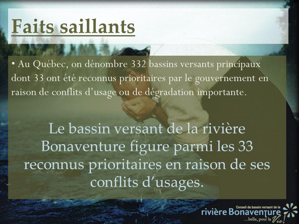 Faits saillants Au Québec, on dénombre 332 bassins versants principaux dont 33 ont été reconnus prioritaires par le gouvernement en raison de conflits