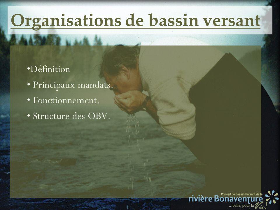 Organisations de bassin versant Définition Principaux mandats. Fonctionnement. Structure des OBV.