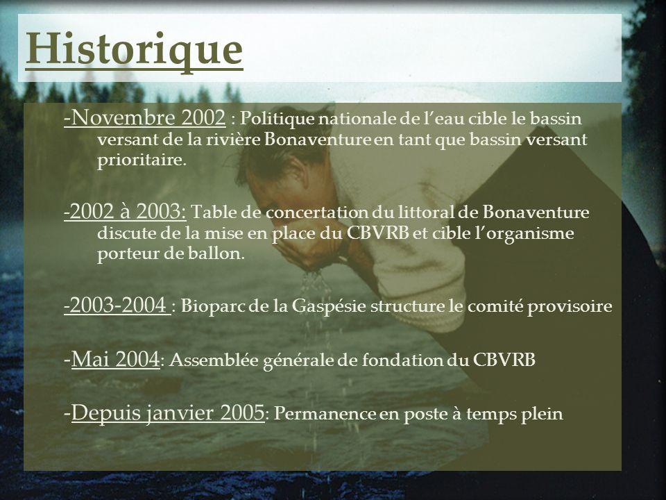 Historique -Novembre 2002 : Politique nationale de leau cible le bassin versant de la rivière Bonaventure en tant que bassin versant prioritaire. - 20
