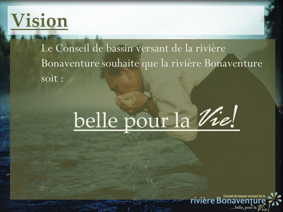 Vision Le Conseil de bassin versant de la rivière Bonaventure souhaite que la rivière Bonaventure soit : belle pour la Vie !