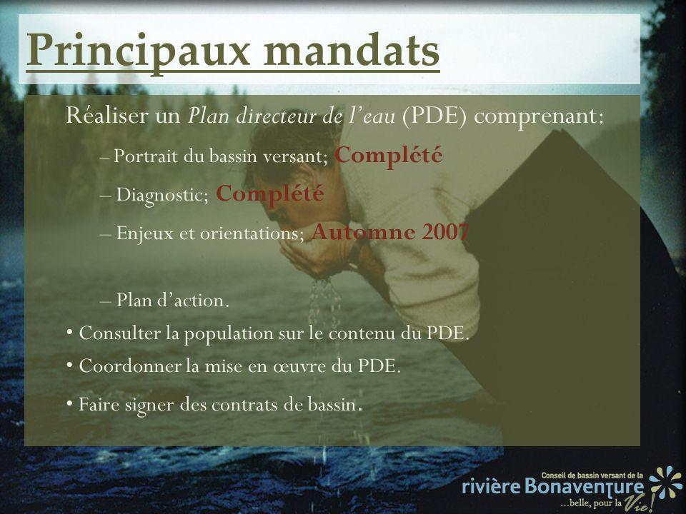 Principaux mandats Réaliser un Plan directeur de leau (PDE) comprenant: – Portrait du bassin versant; Complété – Diagnostic; Complété – Enjeux et orie