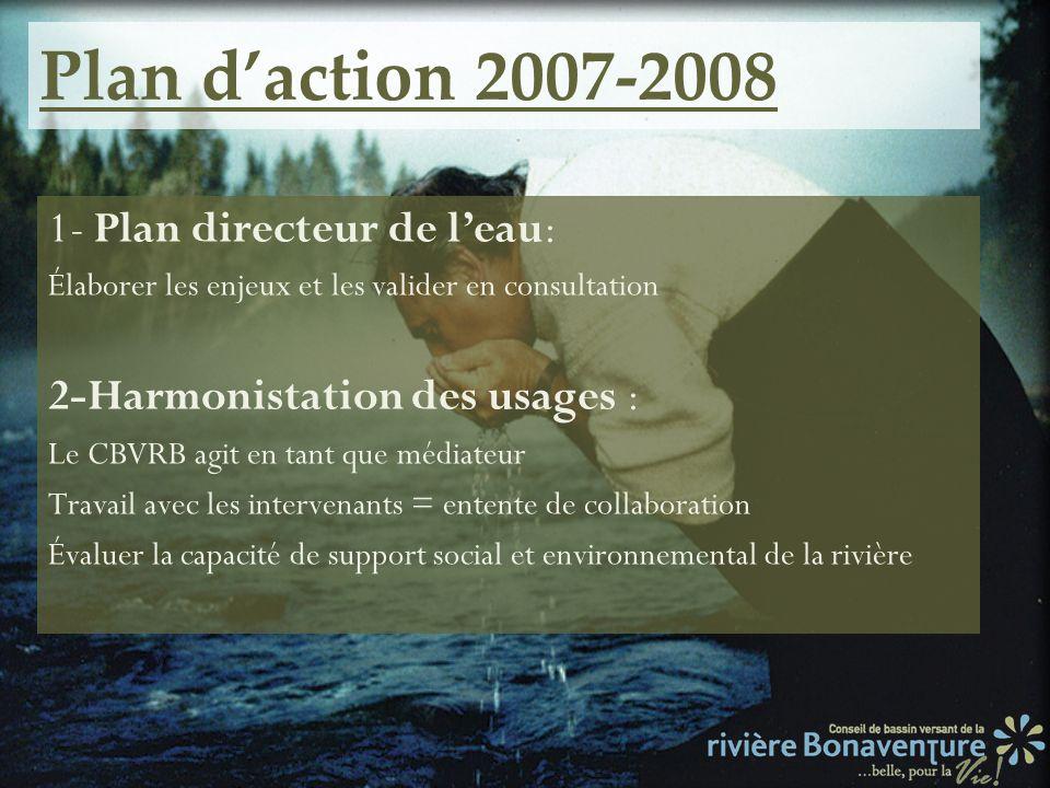 Plan daction 2007-2008 1- Plan directeur de leau: Élaborer les enjeux et les valider en consultation 2-Harmonistation des usages : Le CBVRB agit en ta