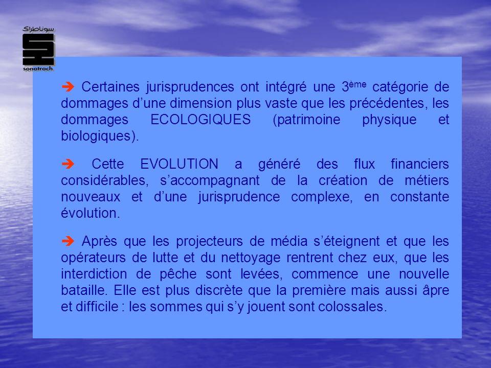 Certaines jurisprudences ont intégré une 3 ème catégorie de dommages dune dimension plus vaste que les précédentes, les dommages ECOLOGIQUES (patrimoi