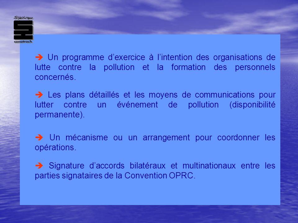 Un programme dexercice à lintention des organisations de lutte contre la pollution et la formation des personnels concernés. Les plans détaillés et le