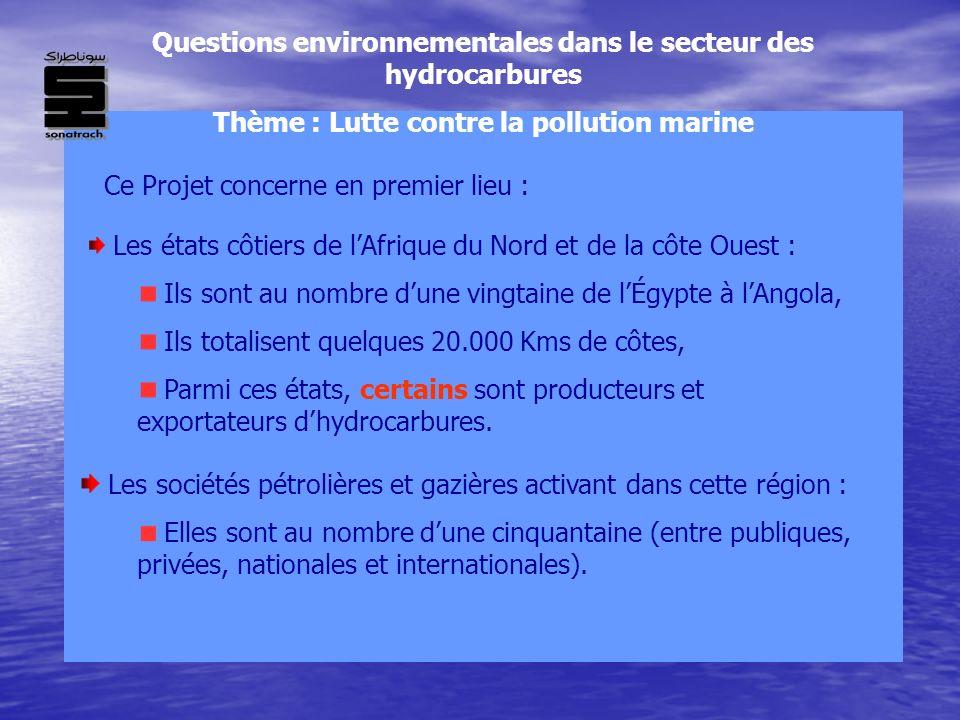 Questions environnementales dans le secteur des hydrocarbures Thème : Lutte contre la pollution marine Ce Projet concerne en premier lieu : Les états