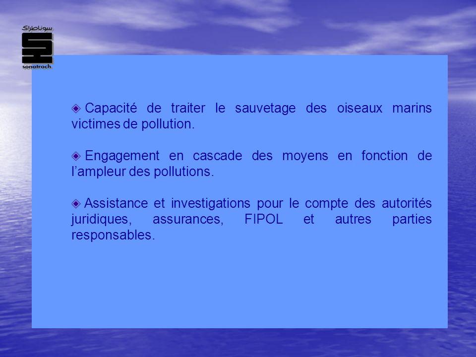 Capacité de traiter le sauvetage des oiseaux marins victimes de pollution. Engagement en cascade des moyens en fonction de lampleur des pollutions. As