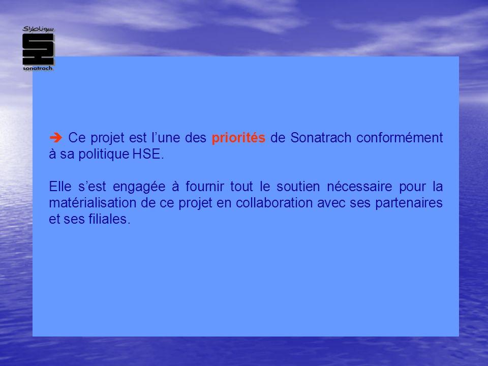 Ce projet est lune des priorités de Sonatrach conformément à sa politique HSE. Elle sest engagée à fournir tout le soutien nécessaire pour la matérial
