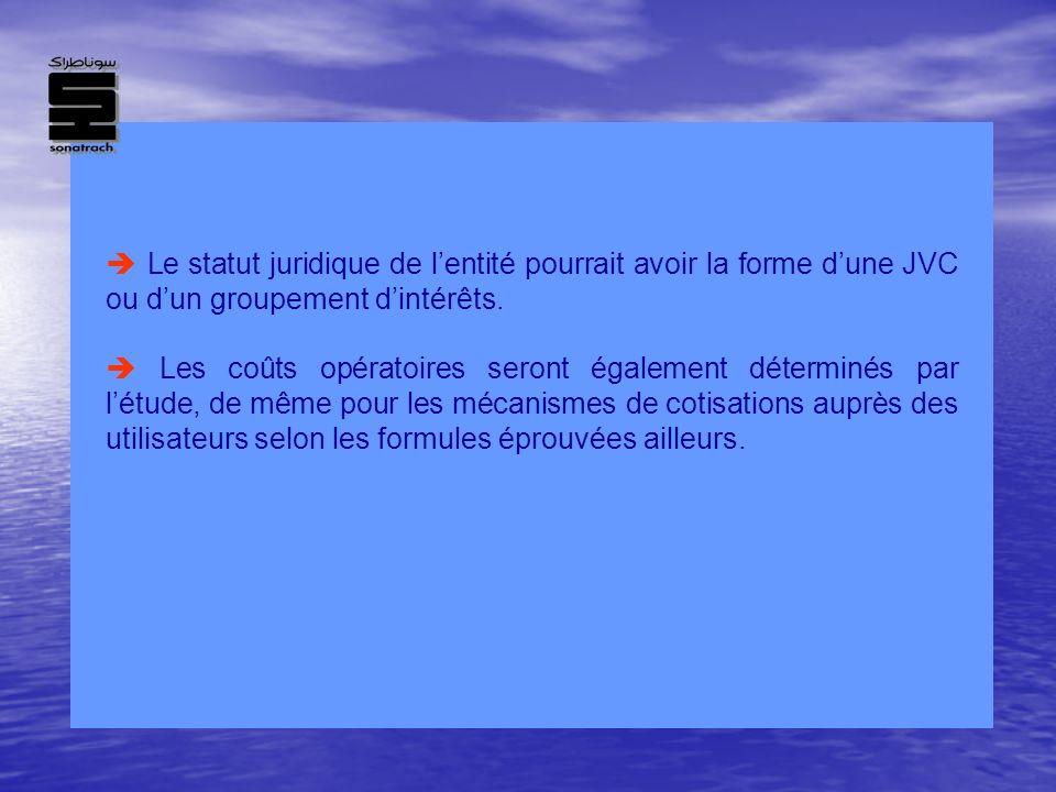 Le statut juridique de lentité pourrait avoir la forme dune JVC ou dun groupement dintérêts. Les coûts opératoires seront également déterminés par lét
