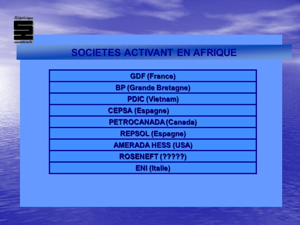 SOCIETES ACTIVANT EN AFRIQUE GDF (France) BP (Grande Bretagne) PDIC (Vietnam) CEPSA (Espagne) PETROCANADA (Canada) REPSOL (Espagne) AMERADA HESS (USA)
