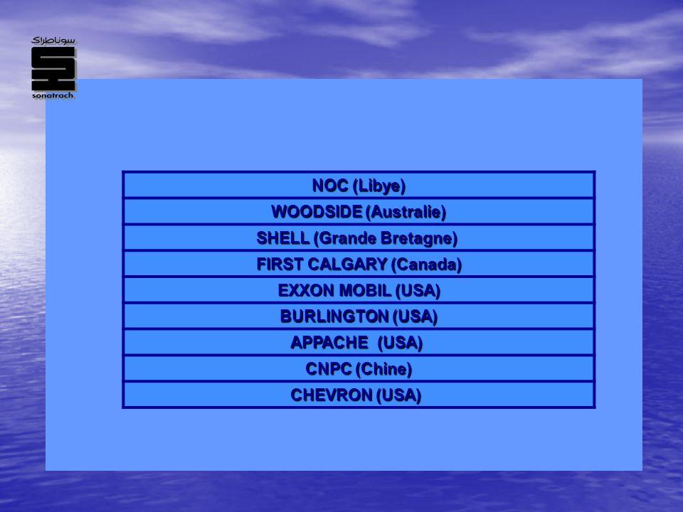 NOC (Libye) WOODSIDE (Australie) SHELL (Grande Bretagne) FIRST CALGARY (Canada) EXXON MOBIL (USA) BURLINGTON (USA) APPACHE (USA) CNPC (Chine) CHEVRON