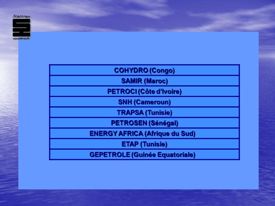 COHYDRO (Congo) SAMIR (Maroc) PETROCI (Côte dIvoire) SNH (Cameroun) TRAPSA (Tunisie) PETROSEN (Sénégal) ENERGY AFRICA (Afrique du Sud) ETAP (Tunisie)