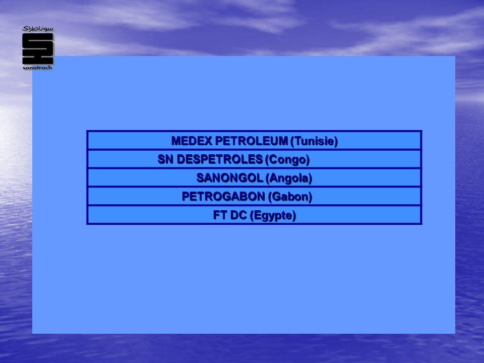 MEDEX PETROLEUM (Tunisie) SN DESPETROLES (Congo) SANONGOL (Angola) PETROGABON (Gabon) FT DC (Egypte)