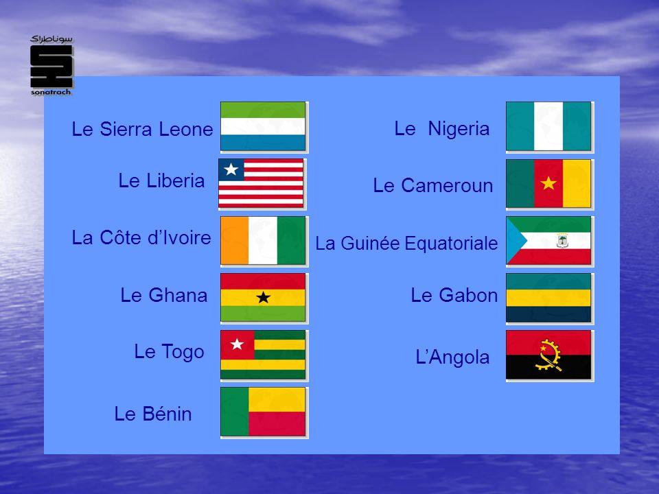 Le Sierra Leone La Côte dIvoire Le Bénin Le NigeriaLe Cameroun La Guinée Equatoriale Le Gabon LAngola Le Ghana Le LiberiaLe Togo
