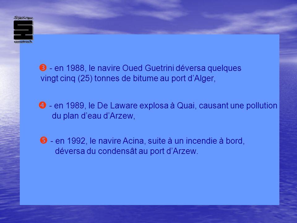 - en 1988, le navire Oued Guetrini déversa quelques vingt cinq (25) tonnes de bitume au port dAlger, - en 1989, le De Laware explosa à Quai, causant u